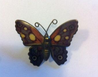 Enamel butterfly brooch / pin vintage retro jewellery jewelry