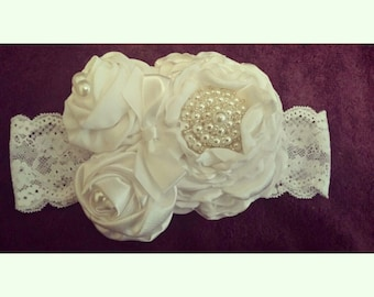 Three Flower Fabric Headband with Pearl Cluster Center