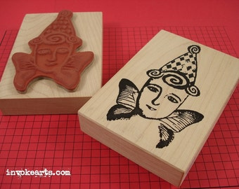 Angelina Gets Her Wings Stamp / Invoke Arts Collage Rubber Stamps
