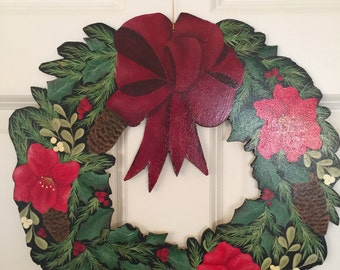 Hand Painted Wooden Christmas Wreath