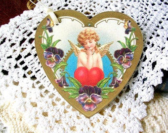 Victorian Style Heart Tags  - Christmas Angel Tags - Christmas Gift Tags - Large Gift Tags - Anniversary Tags