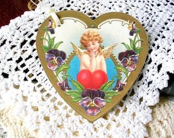 Valentine Gift Tags - 6 Vintage Style Heart Cherub Tags - Valentine Tags - Gift Wrap - Large Gift Tags