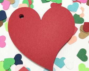 Heart Paper Tags -Red Color - Cardstock Paper Tags - Hang Tags - Set of 50