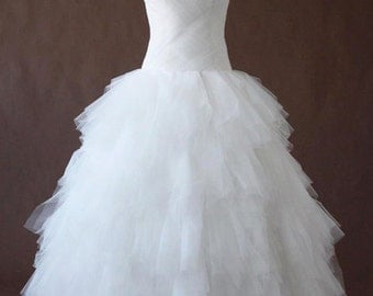 Criss Cross Tulle Pleated Wedding Dress, Sweetheart neckline, corset back, and layered tulle skirt