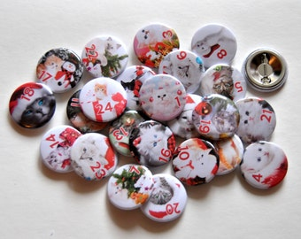 Advent Calendar numbers Cats Button Badge