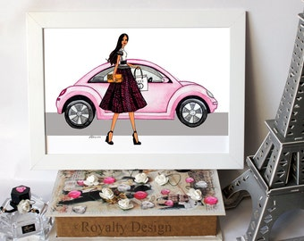 Fashion illustration print - Classy girl with pink car, watercolor art prints