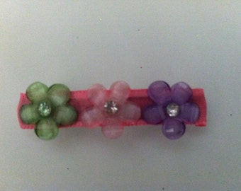 Triple flower with rhinestone center barrette