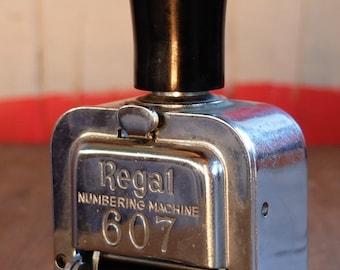 Vintage Desktop Gadget Regal Numbering Machine No.607