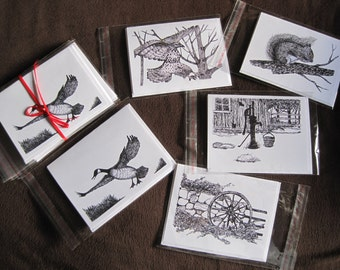 Black and White Original Art ~ Pen and Ink Card Set of 5 Blank Note Cards and Envelopes from the Artist
