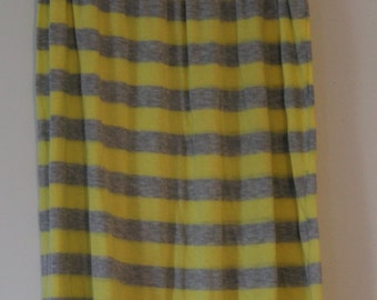 Yellow and grey striped maxi skirt