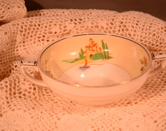 Bowl / two handled / Grindley / Tunstall / England  / gold trim / yellow / flowers / trees / castle / cup / soup bowl / two handled cup