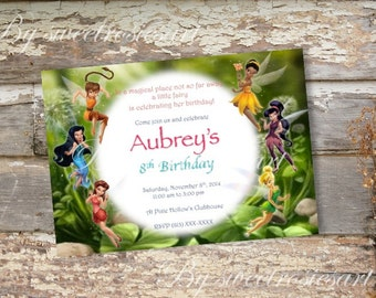 Girl Fairies Birthday Invitation/ Tinkerbell and the Pixie Hollow Fairies