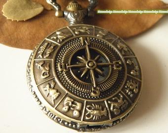 Antique bronze compass Pocket Watch Necklace Jewelry