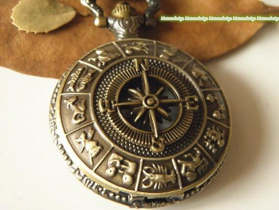 antique bronze compass pocket necklace by matonodesign