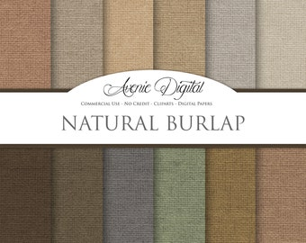 Burlap Digital Paper. Scrapbooking Backgrounds, Linen patterns for Commercial Use. Fabric textures. Clipart Instant Download. Neutral, brown