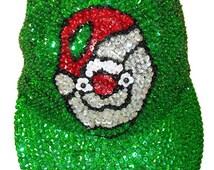 Santa's Head Green Sequin Cap