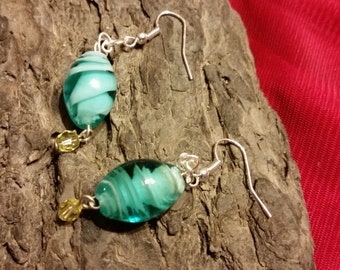 Blue glass bead ear ring