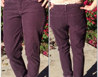 Vintage J-Crew plum colored corduroy pants. Size 25S city fit. Hip to ankle is 37 1/2 inches. J-Crew pants.