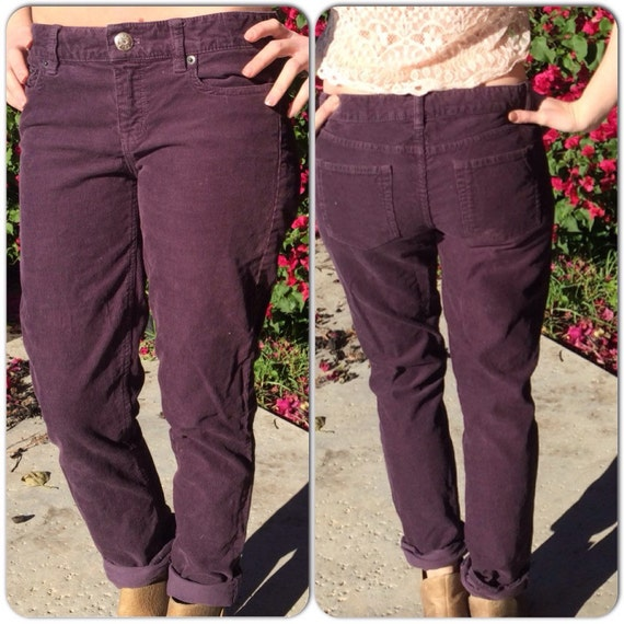 Vintage J-Crew plum colored corduroy pants. Size 25S city fit.