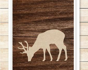 Rustic Deer Wall Art, Rustic Decor, Deer Print, Lodge Style, Cabin Decor, Burlap, Office Decor, Deer Decor, Housewarming Gift, coffeeandcoco