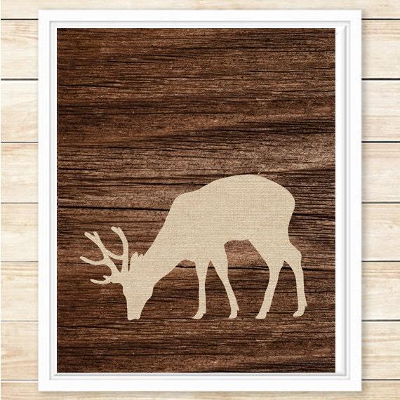 Rustic Cabin Wall Decor : Rustic deer wall art decor print lodge style