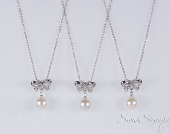 SALE 15% OFF SET of 5 Wedding Jewelry Bridesmaid Jewelry Bridal Necklaces Bridesmaid Sterling Silver Swarovski Pearl nst20