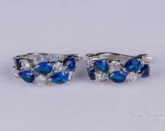 Sapphire Blue Crystal Bridal earrings Wedding jewelry Swarovski Crystal Wedding earrings Bridal jewelry, Bridal Earrings stl128