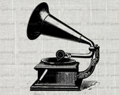 Vintage Gramophone / Phonograph Graphics Clipart - Digital Antique Graphics Printable Image - Clipart - Instant Digital Download