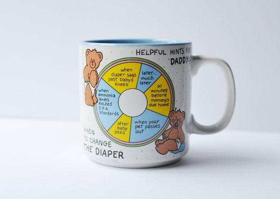 cute vintage papel mug baby shower gift for dad helpful hints for