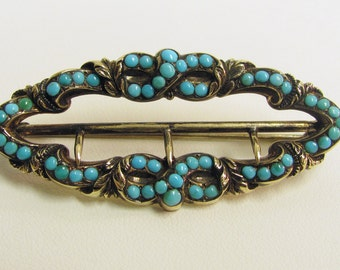 Vintage Turquoise and 14 KT Gold, Brooch.