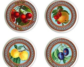 Fruit Basket Ceramic Knobs or Pulls  for Drawers or Cabinets Set of 4