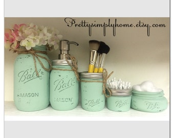 Mason Jar Bathroom Set - Ball Mason Jars - Farmhouse Decor - Rustic Bathroom Set - Mason Jar Soap Dispenser - Housewarming - Wedding Gifts
