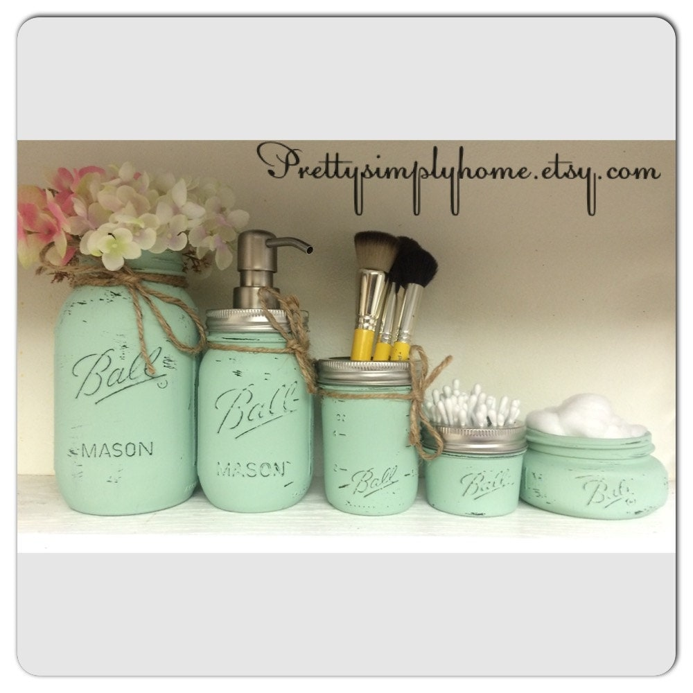 Mason jar bathroom set ball mason jars farmhouse decor for Bathroom decor mason jars