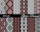 Glitter Damask Digital Paper-Silver,Black,Red Glitter-Damask Printable-Damask Digital Background Paper-Instant Download-BUY 1 GET 1 FREE