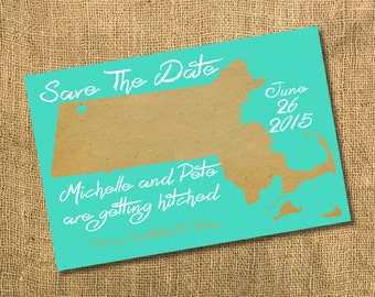 Save The Date { Massachusetts Map }