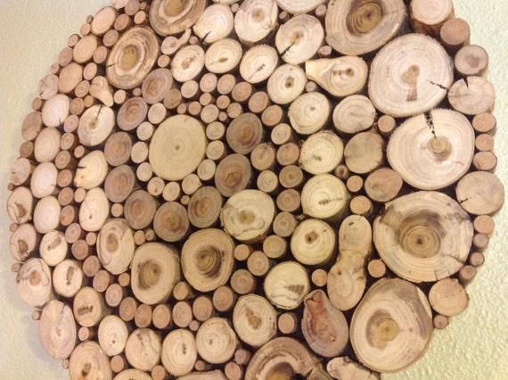 Moderne rustikale holz slice runde kreis spirale kunst for Wanddeko outdoor