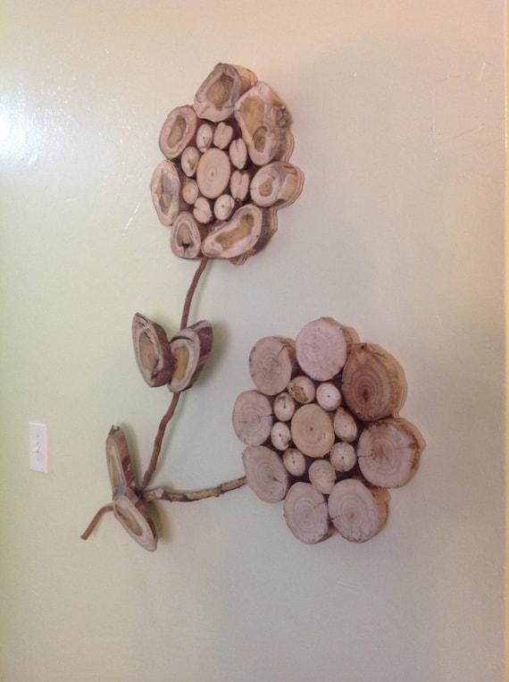 Wood Flower Wall Decor : Modern rustic wood slice flower wall art sculpture tree rings