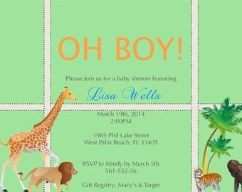 Jungle Baby Shower Invitation Boy Digital file