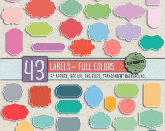 43 digital labels, digital frames, digital clip art, pastel labels, frame clip art, frame clipart INSTANT DOWNLOAD