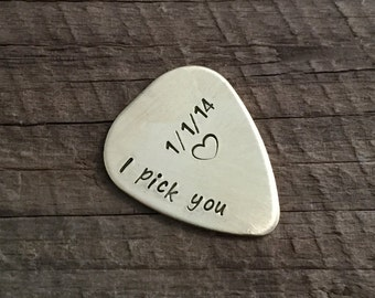 Hand stamped gifts for guitarists gifts, guitar player gift, Custom engraved guitar pick, i pick you, personalized anniversary gift for men