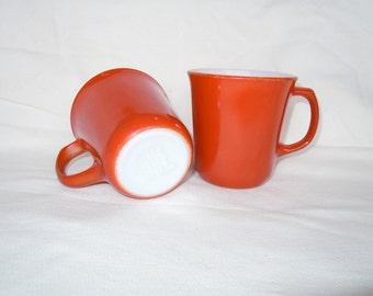 Corning Burnt Orange Sienna Coffee Mugs