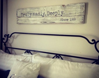 Over the Bed Pallet Sign, Rustic Customized Pallet Sign