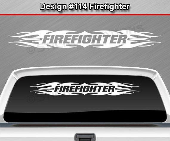 design 114 pompier flamme tribal pare brise autocollant. Black Bedroom Furniture Sets. Home Design Ideas