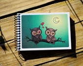 Valentine's day gift. Owls in love. Spiral bound notebook. Surrealistic painting 'love owl love'. Recycled blank paper, A6. Sketchbook.