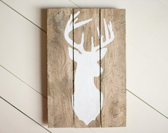 Deer Wood Sign, Pallet Sign, Reclaimed Wood