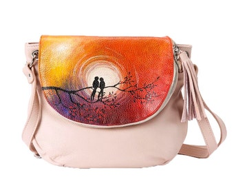 Hand Painted Fine Grain Leather Purse - Fayette Gossip Birds Beige Orange Messenger Bag by Lyria.ro