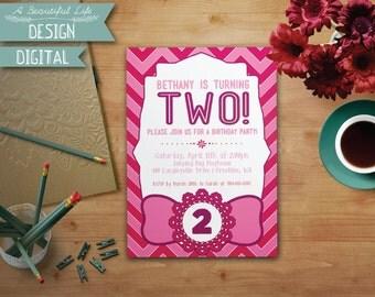 Printable Girl Birthday Invite - Pink Chevron - Digital File - Customizable