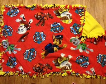 Handmade fleece paw patrol blanket. Approx 4 1/2ft x 2 1/2ft.