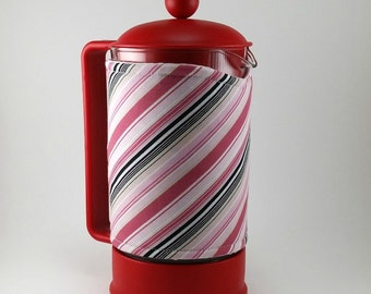 French Press Cozy Cover Insulated Pink stripe Handmade Coffee Gift French Coffee Press Girly Gift Idea MB0016