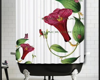 Cheerful Flowers Shower Curtain - Red Morning Glory Botanical insects  - cardinal butterflies shower curtain